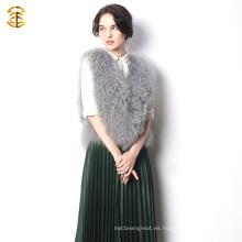 Nuevo 2016 actualizando el chaleco corto hecho punto y el color gris de la piel de las ovejas de Tíbet para las mujeres