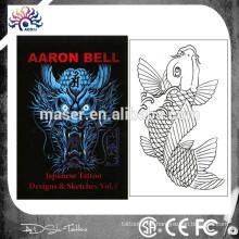 Japonês, dragão, tatuagem, esboço, livro