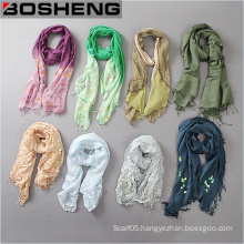 Women Color Gradient Long Scarf Printed Scarf with Fringed