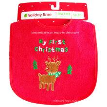 Promotion Red Cotton Cartoon Elk Embroidery Custom Christmas Baby Bib