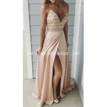 Sexy V neck Floor Length Celebrity Prom Dresses