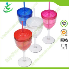 280 ml vaso de acrílico en forma de copa con paja