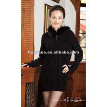 Long manteau de chandail de femmes en cachemire de luxe pour l'hiver