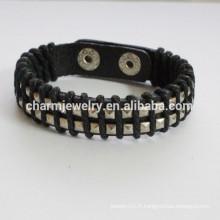Bracelet en cuir en cuir à double boutonnage avec bracelet en corde à cordes PSL024