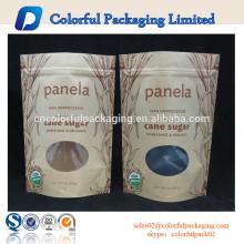Saco de papel personalizado kraft doces com ziplock e janela pe saco zipper