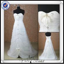 JJ0077 Schatz A-Linie Perlen Front kurz und lang Brautkleid