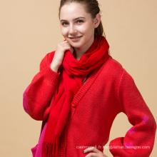 Personnalisé feutré frangé femmes rouge épais hiver couleur pure 100% écharpe en cachemire