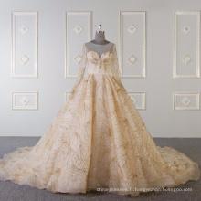 Manches longues musulmanes robe de mariée robe de mariée en or