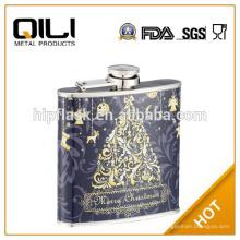 6oz de hermoso color cuero estampado de acero inoxidable envuelto metal frasco de la cadera para Navidad