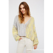 Cozy V-Neckline Sweater with an Easy Shape and Dolman Style Sleeves