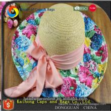 Модные летние женские соломенные шляпы с цветочками оптом