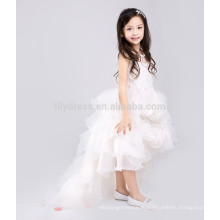 Белый-линии молния назад юбка Розетка Подгонянный цветок девочка платье vestidos дети платье FGZ41