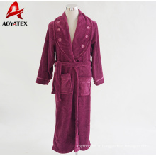 robe pour femme avec col châle peignoir en molleton corail moelleux avec satin