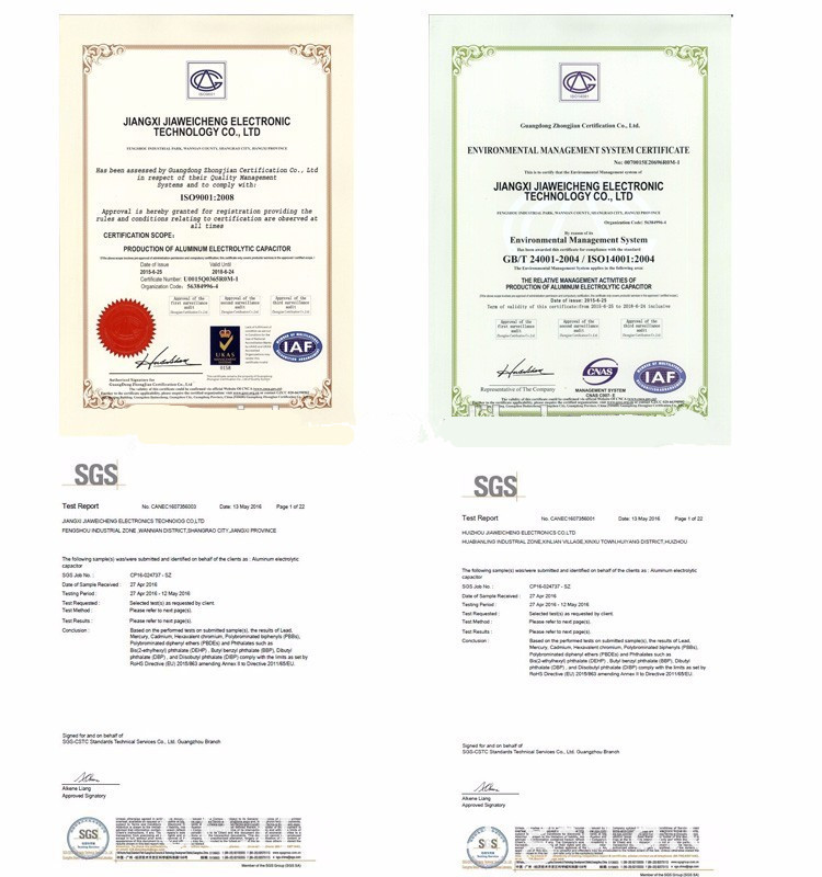 DIP Aluminum Electrolytic Capacitors Certifications