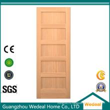 Классический 5 панелей интерьера Тополя перекрытия деревянные двери для проекта