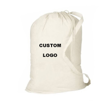 wholesale print logo large foldable heavy duty travel holel eco white canvas cotton drawstring laundry bags