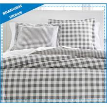 Natural gris Plaid algodón funda de edredón juego de cama