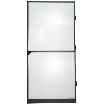 Frame fly screen door with fiberglass net
