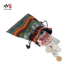 fashion best quality canvas drawstring bag with pull ribbon