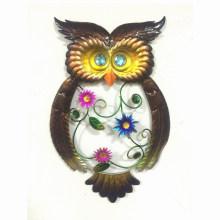 Fashionable Jewelled Eye Metal Owl Garden Wall Craft