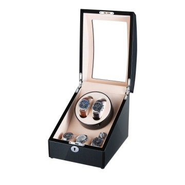 Zwart Finish Carbon Fibre Watch Winder Met Opslag