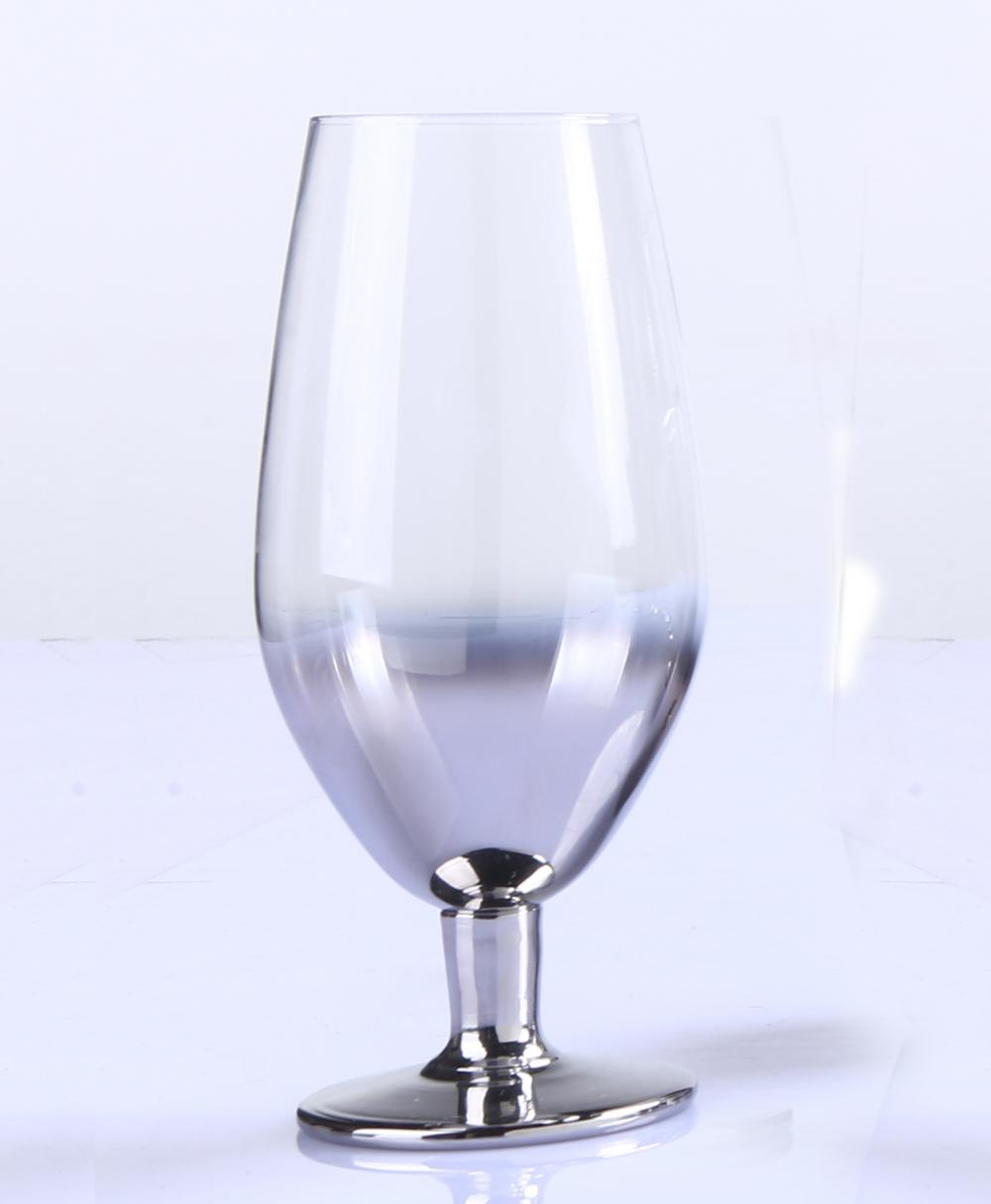 Br 9987 1new Design High Quality Silver Clear Glass Goblet In Bulk