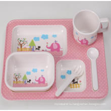 (BC-MK1006) Fashinable Design Reusable Melamine 5PCS Kids Cute Dinner Set