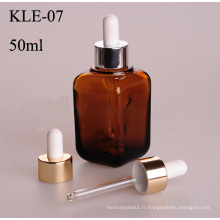 50ml, bouteille en verre de compte-gouttes en aluminium ambre carré (klc3)