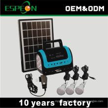 Heißer Verkauf 5W 9VDC Solaranlage mit 3 Lampen Radio MP3 USB