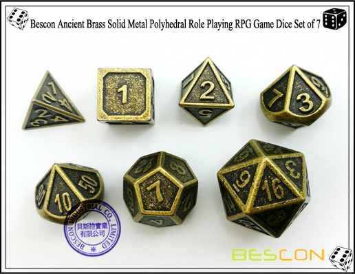 Bescon New Style Ancient Brass Solid Metal Polyhedral Role Playing RPG Game Dice Set (7 Die in Pack)-3