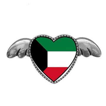 Kuwait Flag Heart With Angel Wings Pins Brooch