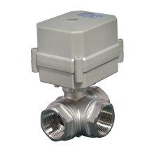 3-Wege-horizontale L Typ Edelstahl 304 Elektrisch betätigte Wasser Kugelhahn