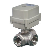 3 Way Horizontal L Type Stainless Steel 304 Electric Actuated Water Ball Valve