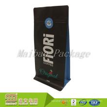 La doublure refermable de papier d'aluminium de tirette de conception faite sur commande soude à la main se lèvent la poche noire de sac de fond plat
