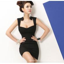 2015 Глубокий V-Образным Вырезом Тонкий Черный Сексуальный Bodycon Вечерний Клуб Платье