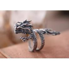 925 Sterling Silber Männlichen Ring Gragon Fliegen Design Alte Farbe Retro Mode