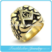 Wholesale High Quality Fashion Custom Design Gold Plated Heavy Mens Stainless Steel Masonic Signet Ring With Black Enamel