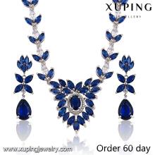 Fashion Luxury Rhodium Leaf -Shaped CZ Diamond Jewelry Set for Wedding (S-19)