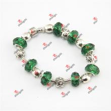 Verde contas de vidro serpente pulseira de corrente (oao60229)