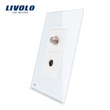 Livolo US Розетка для спутникового телевидения с белой жемчужиной и хрустальным стеклом Электрическая розетка VL-C591STV-11