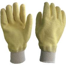 Gelbe Latex-Baumwoll-Interlock-Liner-Latex-beschichtete Handschuhe