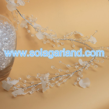 Fashion Frost Petal Beaded Branch Silver Wire