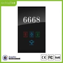 Plaque de porte électronique pour numéro d'hôtel de panneau en verre trempé