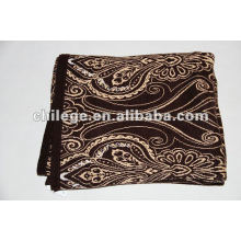 100%cashmere knitted printed blankets/bed throws