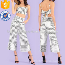 Striped Tie Back Crop Top With Wide Leg Pants Manufacture Wholesale Fashion Women Apparel (TA4114SS)
