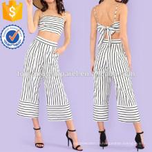 Полосатый галстук задний топ и широкие брюки Производство Оптовая продажа женской одежды (TA4114SS)