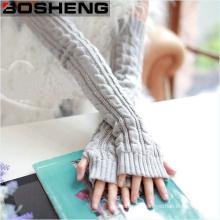 Women Winter Warm Mitten Wrist Arm Hand Warmer Fingerless Long Knitted Gloves