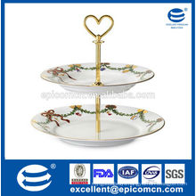 fiesta ware for Christmas party 2 layers ceramic cake stand