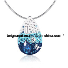 Sw Elements Crytal Indicolite Color Water Drop Pendant Necklace