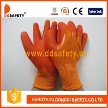Orange Nylon PVC Dipping Glove Working Gloves Dnl511